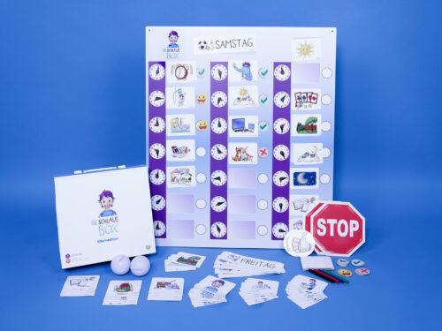»Die Schlaue Box« Eltern Edition mit vielen Teile. Sticker, Bälle, Karten, einem großen Tagesplan, Stiften und stabilem Koffer zur Aufbewahrung